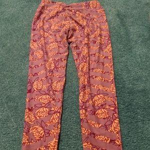 Pink and Orange LuLaRoe One Size Leggings